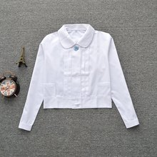 "Super Cute ! Schoolgirl Peter Pan collar L-sleeve White shirt "" Embroidery organ pleated"""