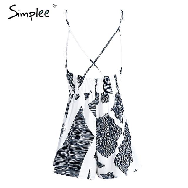 Simplee Geometric print strap jumpsuit romper women Streetwear v neck sleeveless backless playsuit Summer beach short overalls