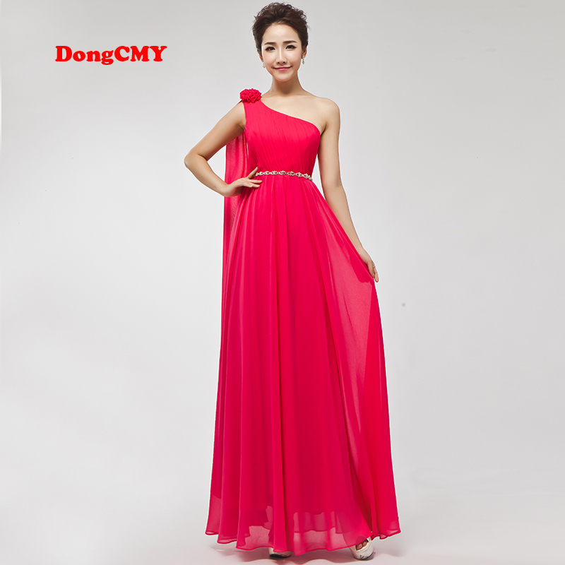 DongCMY 2020 One Shoulder Bridesmaid Dresses New Fashion Long Chiffon Vestido De Festa Part Gown