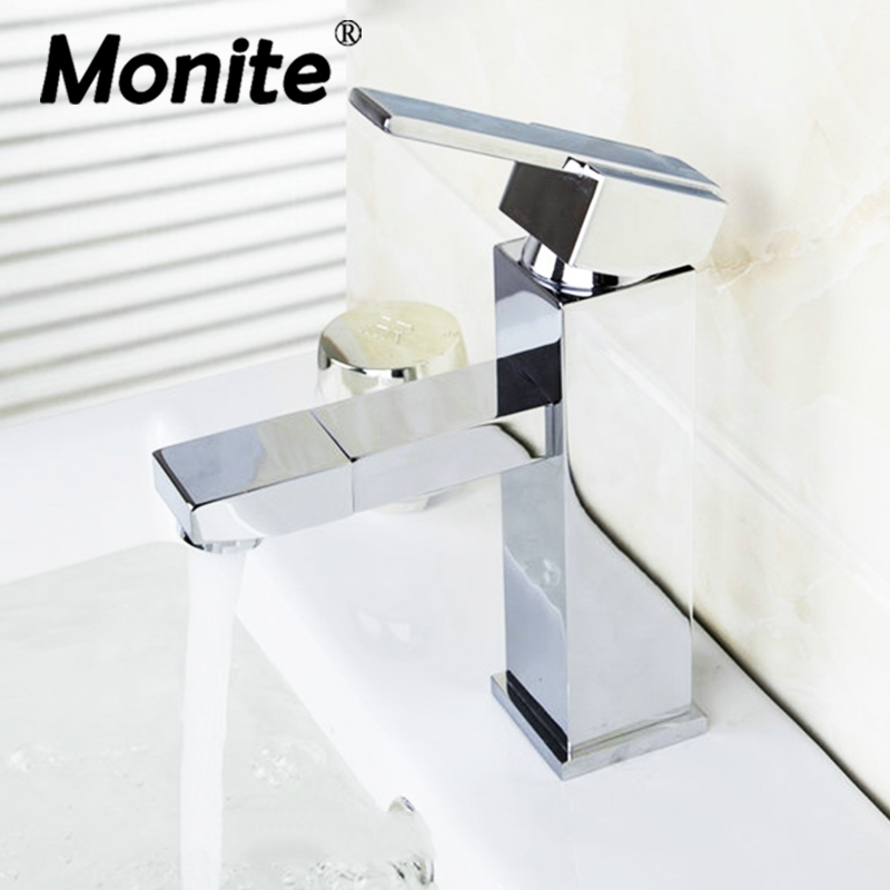 Monite Solid Brass Basin Faucet Retro Stream Spout Swivel Deck Mounted 1 Handle Chrome Bathroom Basin