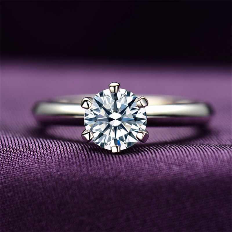 Big 95% Off! LMNZB 100% Pure Original GOLD Filled แหวน 2 กะรัตสีขาว Solitaire Cubic Zircon งานแต่งงานแหวน LM168