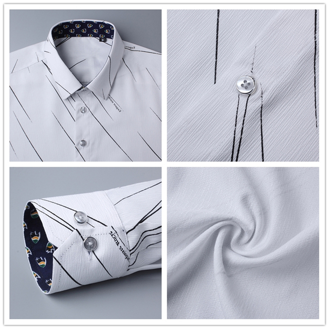BROWON New Arrival Plus Size Mens Formal Shirts Meteor Print Long Sleeve Blouse Shirts for Men M - 5XL Imported Shirt Men 4