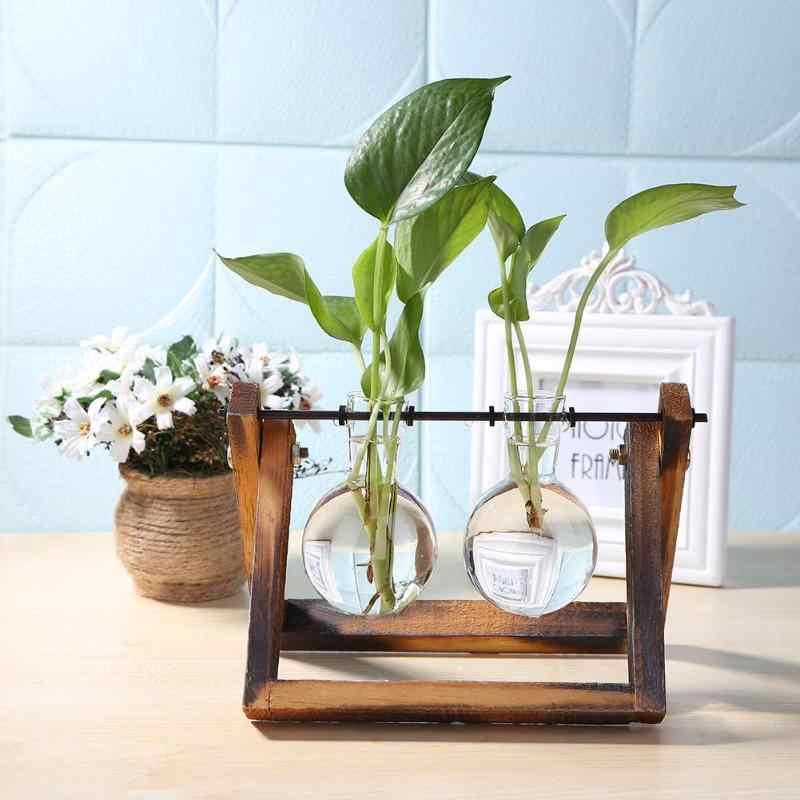 Vaso de vidro e madeira plantador terrário mesa desktop planta hidroponia bonsai vaso flor pendurado vasos com bandeja de madeira decoração da sua casa