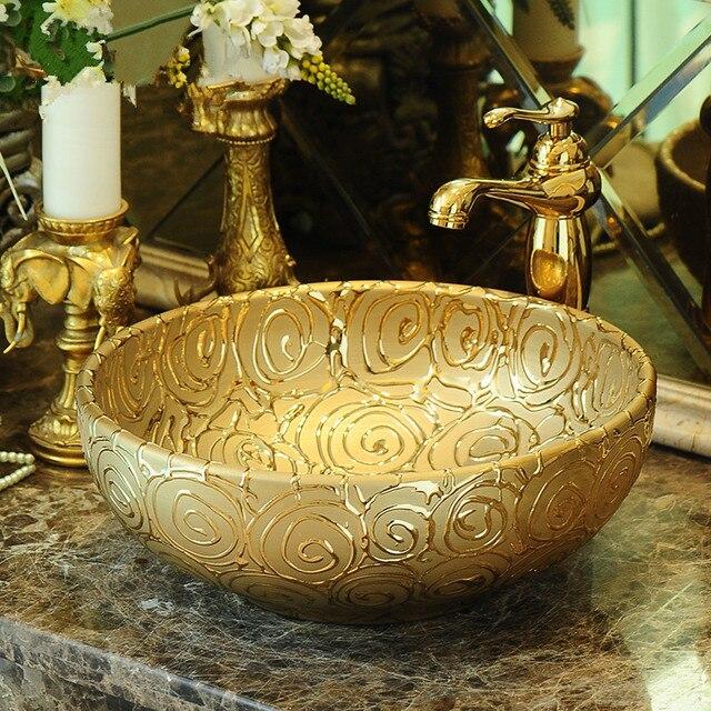 Mini Vessel Bathroom Sinks.35cm Europe Vintage Style Art Basin Sinks Counter Top Vanities Mini