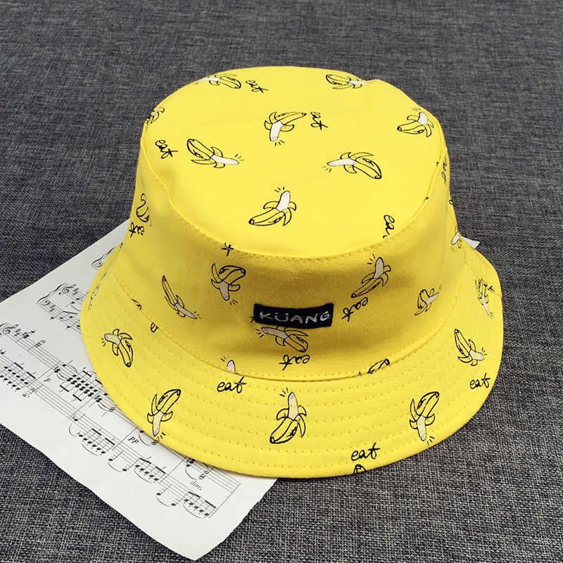 09a8ab5cb7b Bucket cap Man Women Unisex cotton Banana Hat Bob Caps Hip Hop cool outdoor  sports Summer