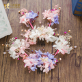 Charm silk flower hair comb+hairgrips girl hairpins rhinestone hair clips crystal bride headpiece wedding accessories my07