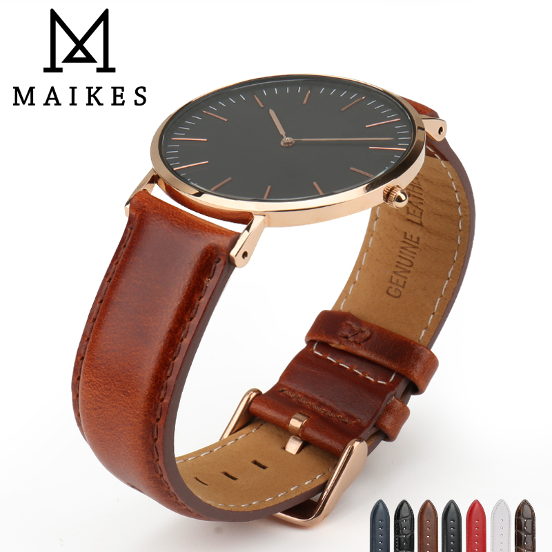 MAIKES Genuine Leather Watchband Silver & Roes Gold Buckle For 12mm 16mm 18mm 20mm Luxury Replace Bracelet Strap
