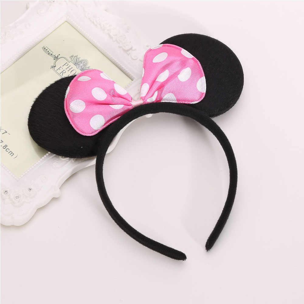 2016 Kawaii חמוד מיקי & מיני Bowtie Hairbands לנשים ילדה קשת שיער להקת עכבר אוזן קריקטורה סרטי ראש אביזרי עבור ילד