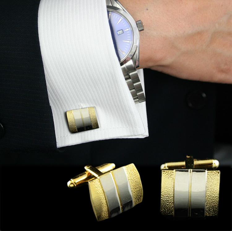 1 Pair New Double Color Matte Cufflinks Tie Clasps Sleeve Button Sets Formal Shirt