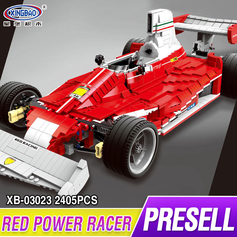 XINGBAO 03023 Technic Series 2405PCS The Red Power Racing Car Set Building Blocks Bricks Educational Toys as Kids Christmas Gift black pearl building blocks kaizi ky87010 pirates of the caribbean ship self locking bricks assembling toys 1184pcs set gift