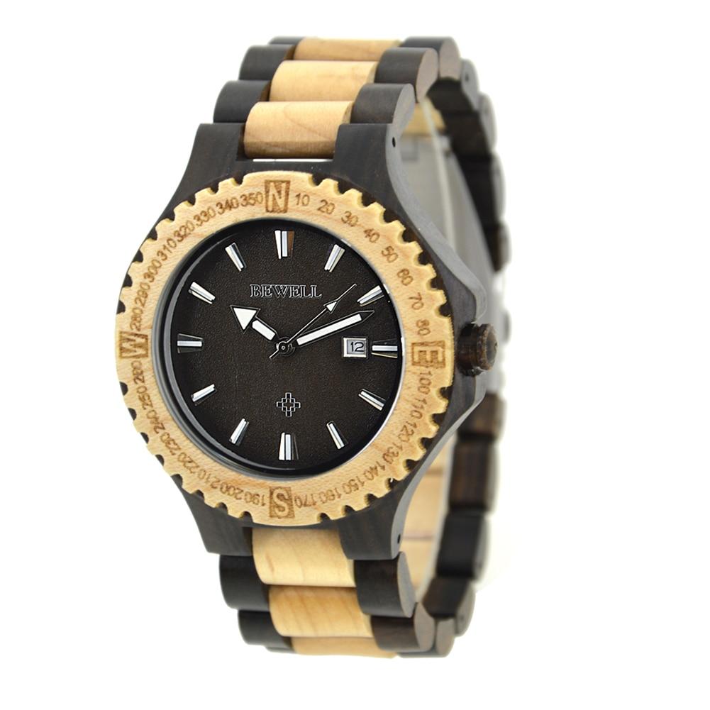 Handmade Wooden Man Watches Luxury New Wrist Watch Calendar Quarts Sport Clock reloj hombre splendid brand new boys girls students time clock electronic digital lcd wrist sport watch