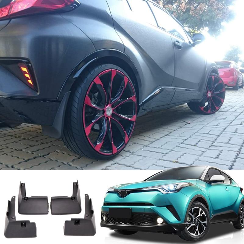 Car Styling 4PCS Front&Rear Plastic Molded Splash Guards Mud Fender Mud Flap For Toyota C-HR CHR 2016 2017 2018