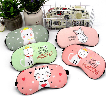 1pc Sleeping Mask Eyepatch Eye Cover Cotton Creative Lovely Cartoon for Eye Travel Relax Sleeping Aid Eye Patch Shading Eye Mask 1