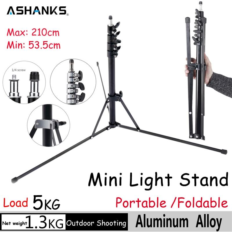ASHANKS Mini Studio Light Stand Collapsible Aluminum Foldable Tripod 2.1m Potable Lamp Stand Fotografia for Video Flash Light  цена и фото