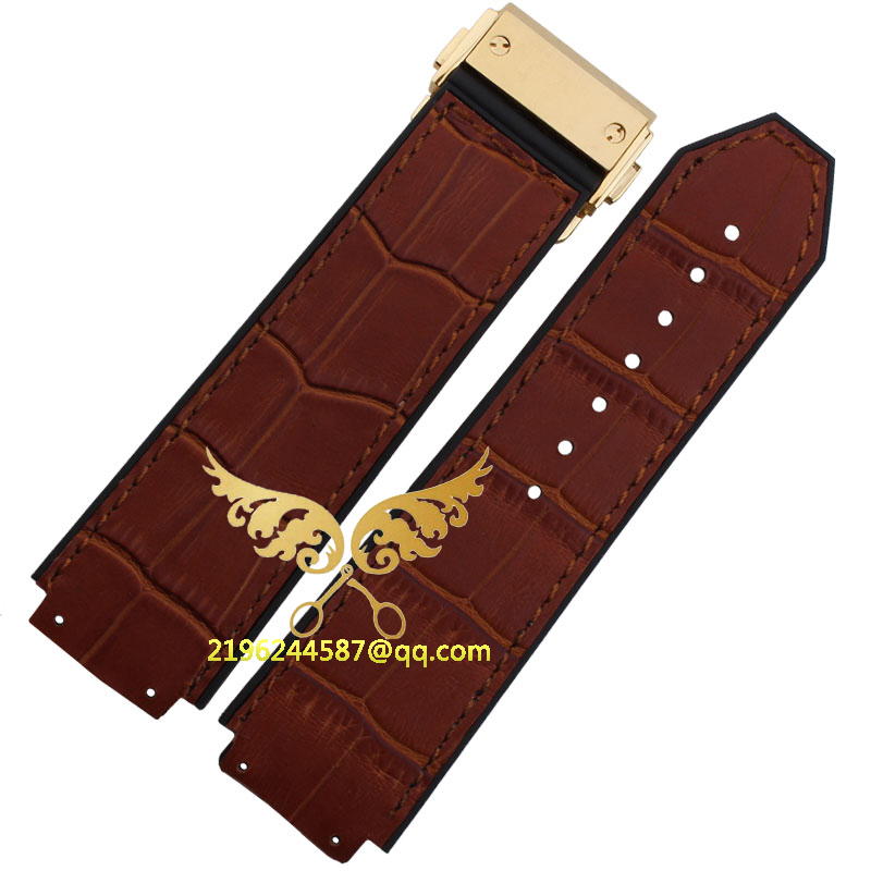 Free shipping 25mm x 19mm Watch lug New Men s Silicone Rubber and Brown genuine leather