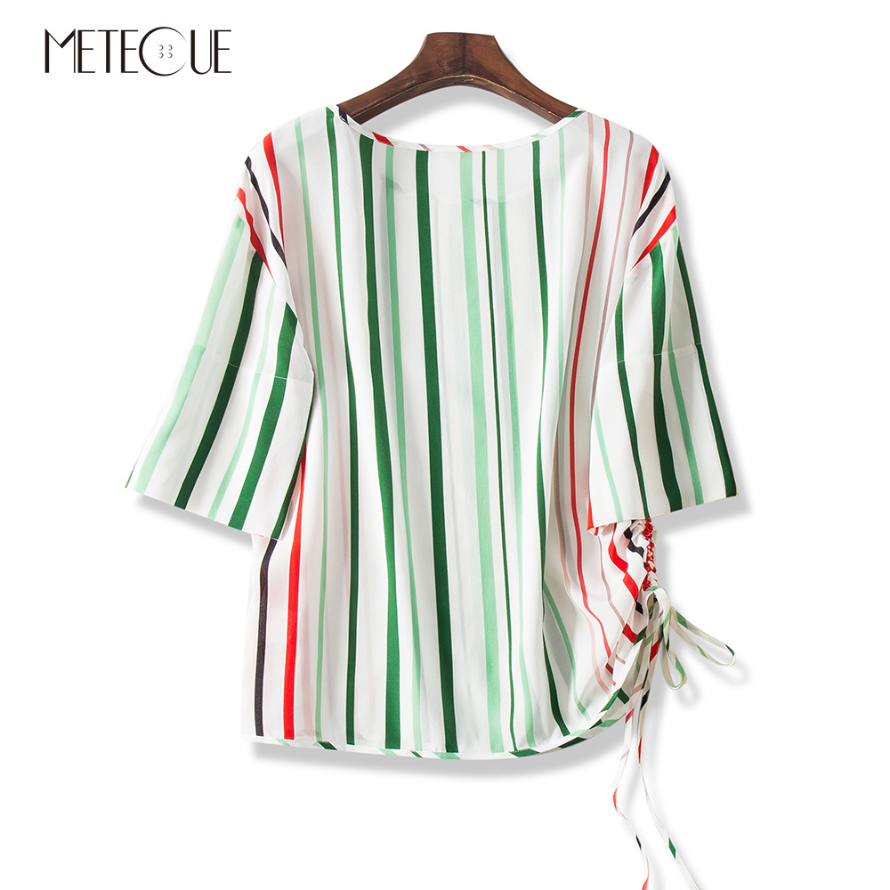 100 Silk Striped Hem with Drawstring Women Blouse Office Lady Loose O Neck Three Quarter Sleeve