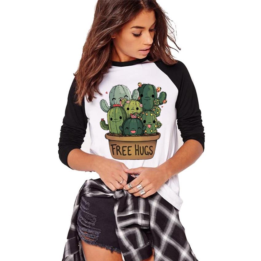 2018 Autumn Long Sleeve T Shirt Big Size Women's Tshirt Cute Cactus Free Hugs Design Raglan Sleeve Tee Shirt Female Camiseta