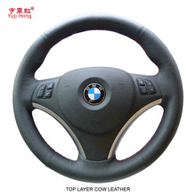 Yuji-Hong Top Layer Genuine Cow Leather Car Steering Wheel Covers Case for E90 320i 325i 330i 335i Hand-stitched Cover