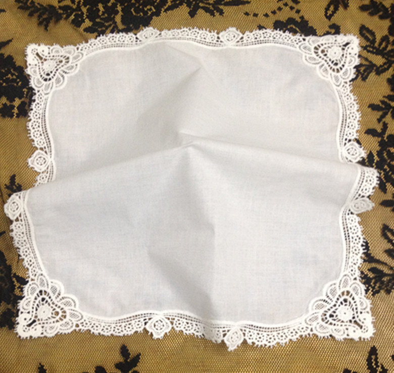 Set Of 12 Fashion Ladies Handkerchiefs White Cotton Wedding Bridal Handkerchief With Lace Edges Hankies Hanky For Bride 12