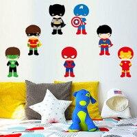7 шт. наклейки на стену с изображением супергероя для детской комнаты супер герой комикс Бэтмен спальня съемный клей обои домашний декор