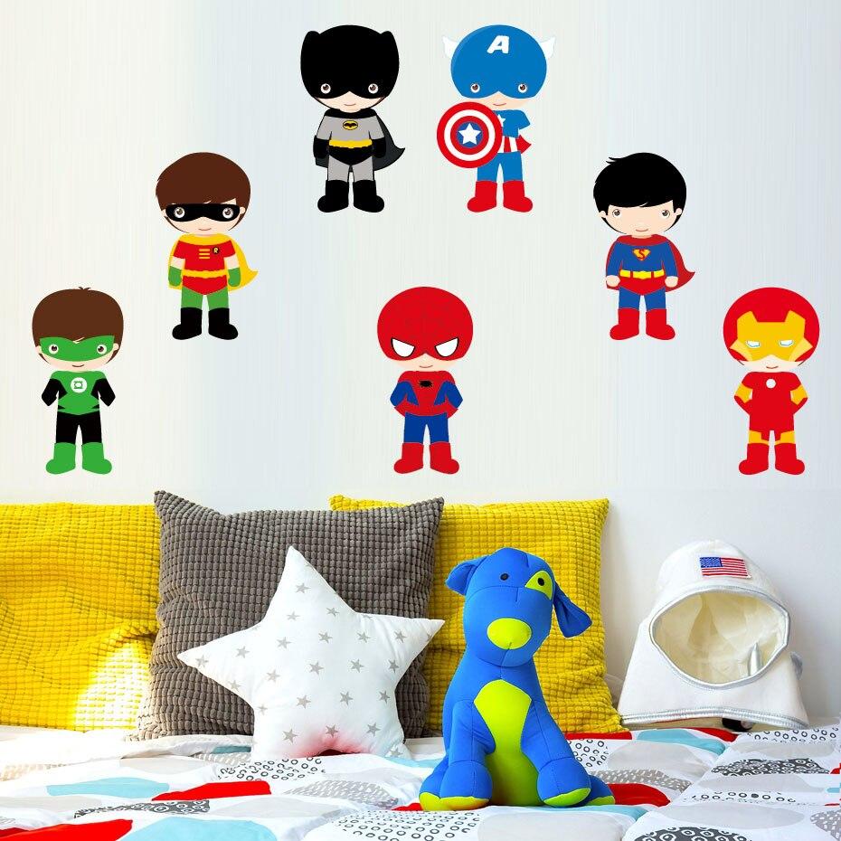 7 Pcs Super-Héros Couleur Mur Art Autocollants Pour Enfants Chambres Super Héros de Bande Dessinée Batman Chambre Amovible Adhésif Papier Peint Décor À La Maison