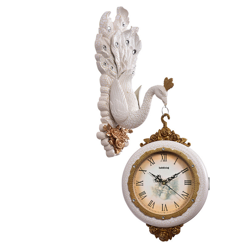 European Style Peafowl Ultra-quiet Clocks Silent Retro Wedding Home Decorations Peacock  ...