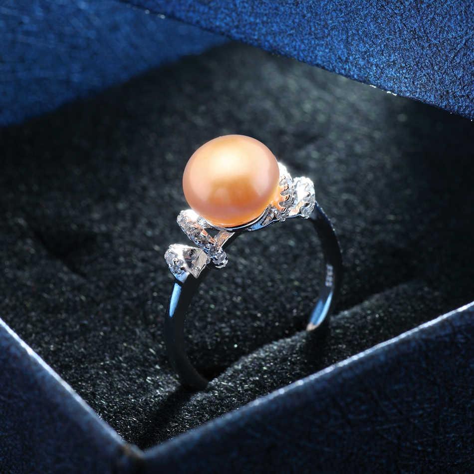 F EIGEขายส่งแหวนมุกที่มีคุณภาพสูงจริง925แหวนเงินสำหรับผู้หญิง8-9มิลลิเมตรสีชมพูมุกน้ำจืดเครื่องประดับของขวัญเลดี้