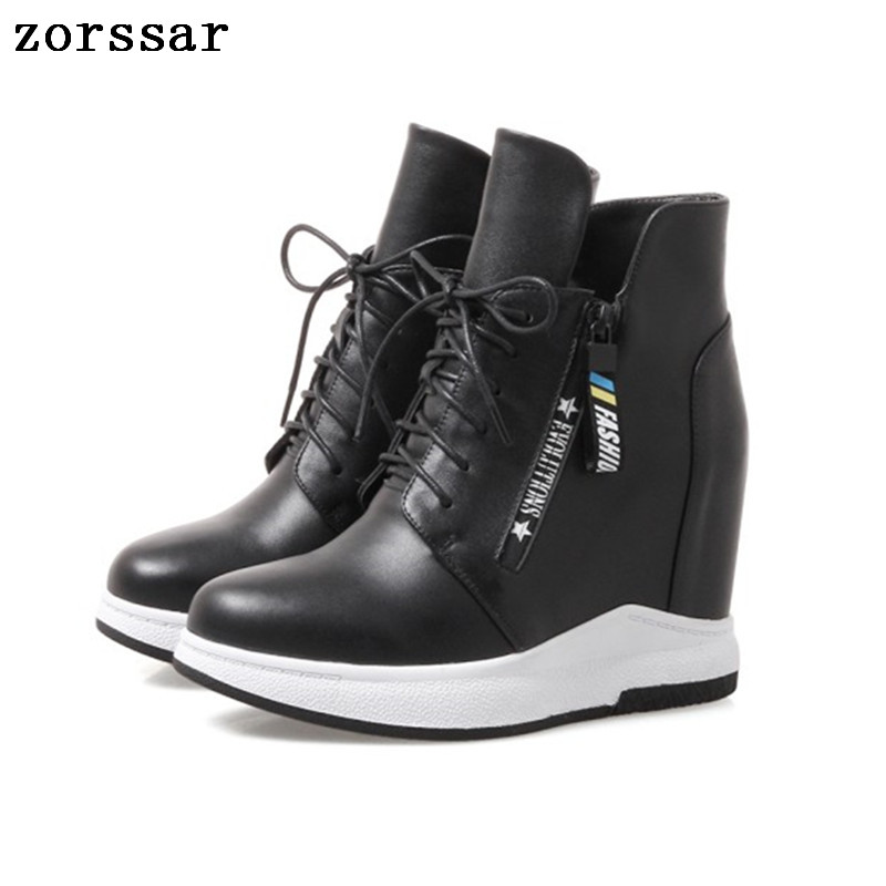 e9d8641431a8  Zorssar  Fashion sneakers womens boots Genuine Leather height increasing  women high heel ankle Platform wedge shoes
