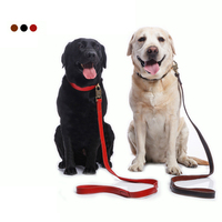 Super Quality Genuine Leather Dog Leash For Medium Large Dogs Durable Collar Leads With Lock Training