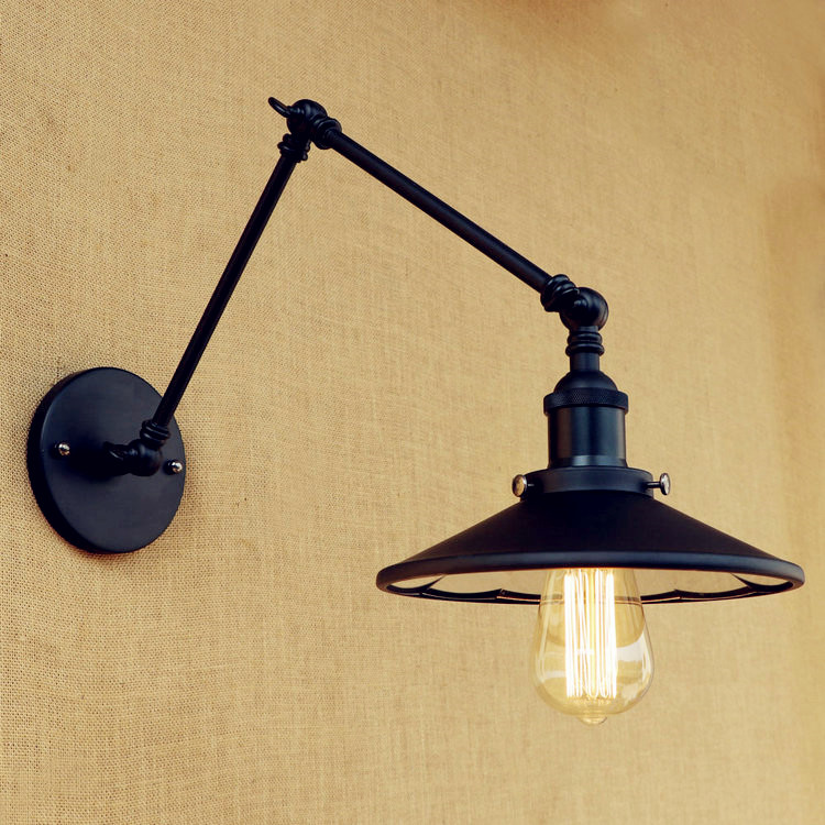 Black Swing Long Arm Wall Lamp Vintage Wandlamp LED Edison Style Loft Industrial Wall Light Fixtures Sconce Lamparas De Pared glass arm long light retro wooden wall lights led edison style loft industrial wall sconce vintage wandlamp appliques pared