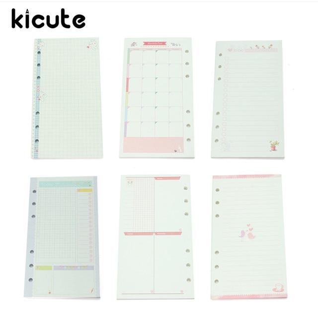 Kicute A6 45 feuilles Recharge 6 Trous Liant Papier De Bourrage pour Filofax Portable Remplacer Noyau Feuilles mobiles Scolaires de Bureau Papeterie