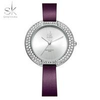 Shengke Women Watches Luxury Brand Female Watches Diamond Dial Girl S Quartz Clock Leather Band Wristwatch