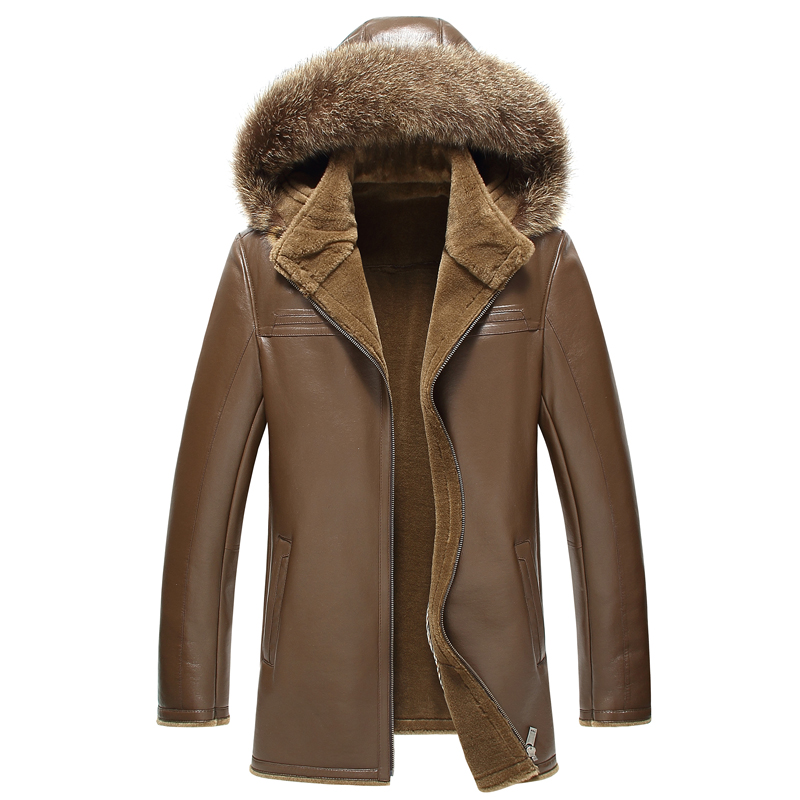 2018 Brown Men Hood Shearling Coat Plus Size 4XL Genuine Sheepskin Slim Fit Winter Thick Warm Russian Leather Coat FREE SHIPPING