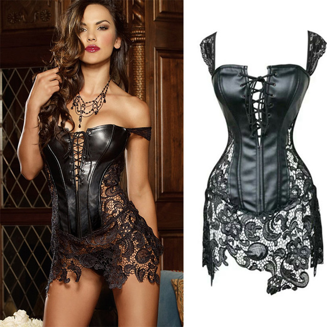 sexy leather corsets skirt lace-up hollow out corsele black faux leather  lace Shaper Bustier Plus Size Steampunk Corset Dress 9871274b7