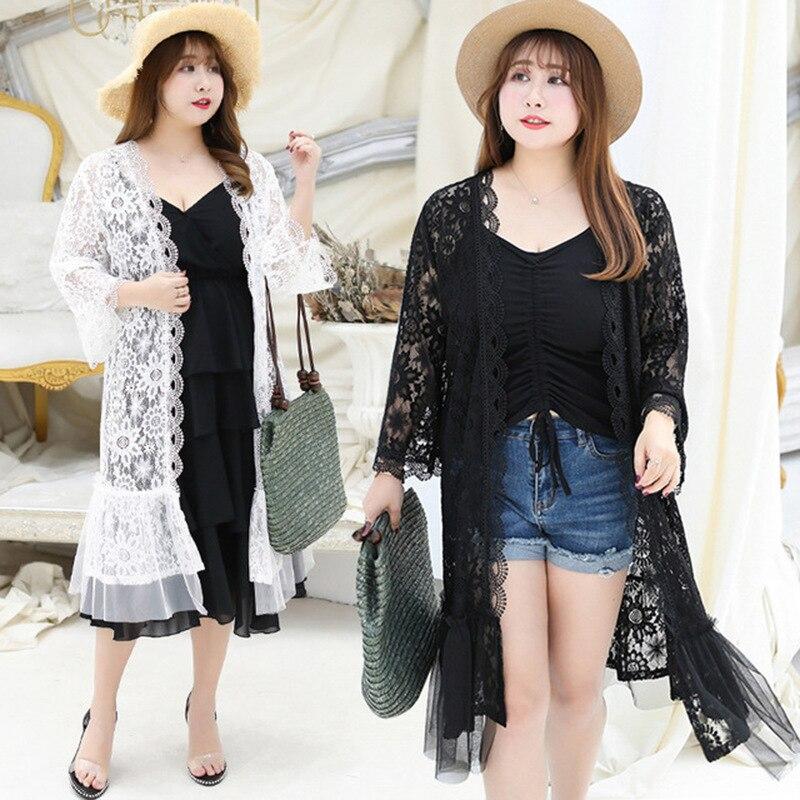 Été Femmes Kimono Cardigan Long Blouses Sexy Dentelle protection Solaire À Manches Longues Tops Plus La Taille 4XL Lâche Femelle Chemises Plage porter
