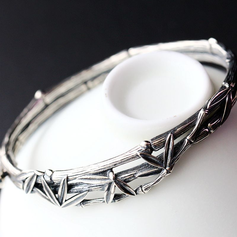 Silver Jewelry Wholesale S925 Sterling Silver Open Cuff Bangle Retro Thai Silver Bangle Rich Bamboo Female Silver Bangle open cuff bangle