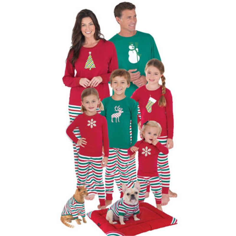 2017 Christmas Family Matching Pajamas Set Hot Sale Bebes XMAS Adult Kid Print Sleepwear Clothes Fall Warm Family Match Clothing