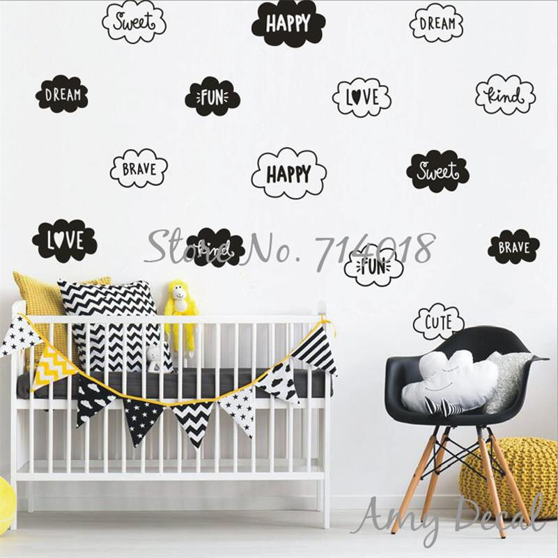 Black And White Cloud Wall Decals Cute Cloud & Words Wall