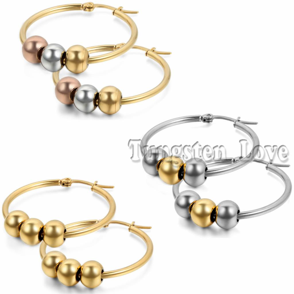 New Stylish Stainless Steel Big Hoop Earrings Round Loop Earrings Beads  Large Earrings For Women Silver