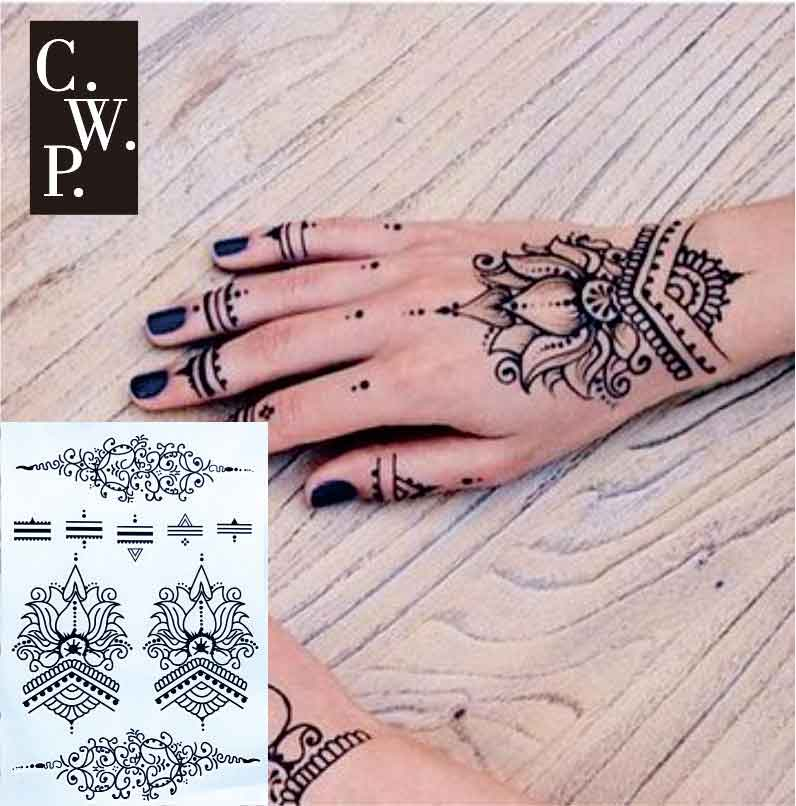 Henna Tattoo Hand Wrist: #BH1709 1 Piece Lotus Wrist Black Henna Temporary Tattoo