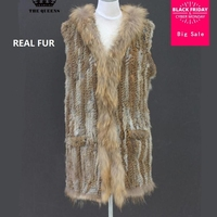 High quality Female new fashion brand winter real fur coat Rabbit fur hooded vest coat sleeveless S M L XL XXL plus size J22