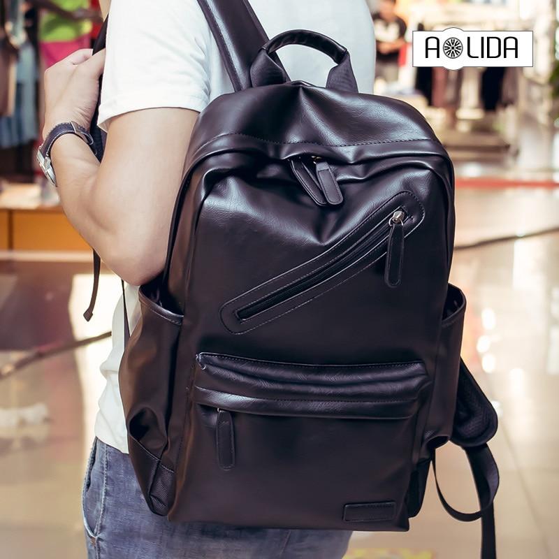Men PU Leather Backpack High Quality Youth Travel Rucksack School Book Bag Male Laptop Business bagpack mochila Shoulder Bag стоимость