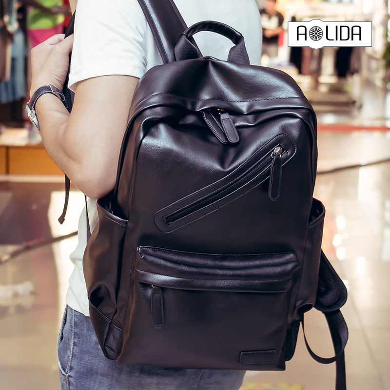 Men PU Leather Backpack High Quality Youth Travel Rucksack School Book Bag Male Laptop Business bagpack mochila Shoulder Bag цена