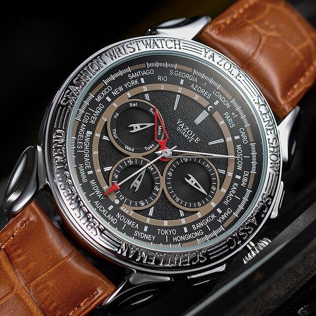 Men Watches 2019 YAZOLE Top Brand Luxury Fashion Sports Watches Men Vintage engraving Watches Quartz Hodinky Relogio Masculino 2