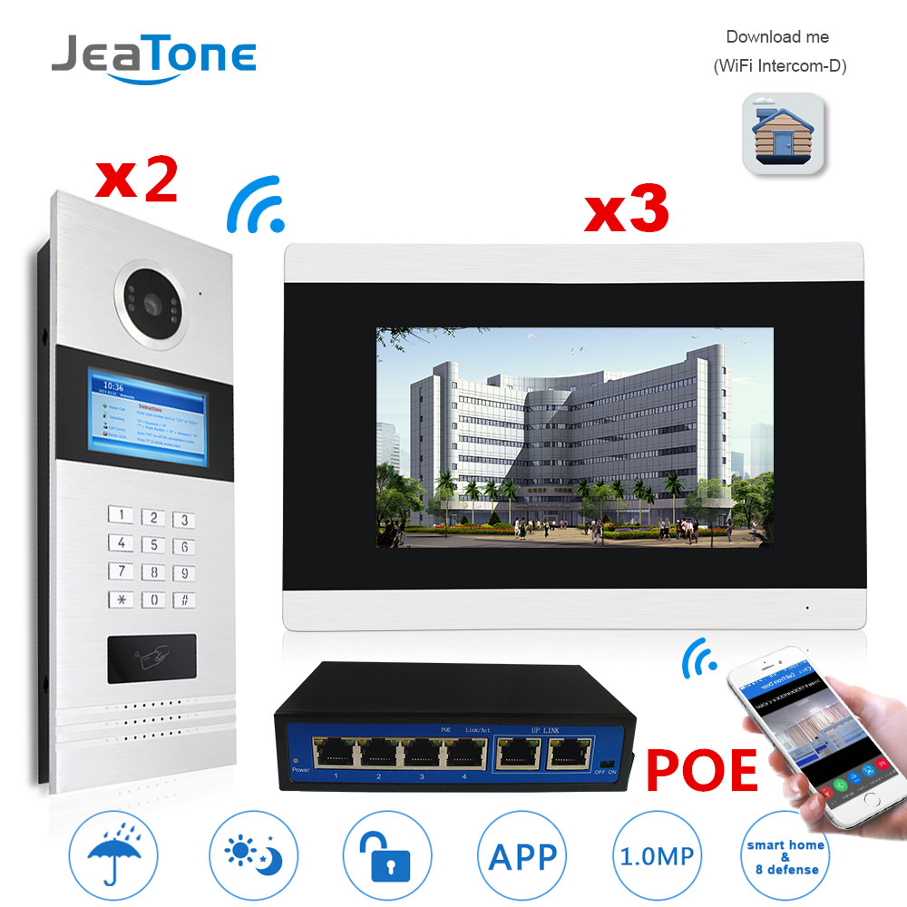 7'' Touch Screen WIFI Video Door Phone IP Video Intercom for Building Access Control System Support Password/IC Card 2 to 3 7 inch password id card video door phone home access control system wired video intercome door bell