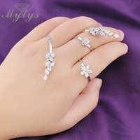 Mytys Adjustable Free Size 3 Fingers Rings AAA High Level Zircon Pron Setting Handlets Palm Jewelry