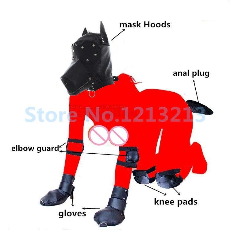 BDSM chien esclave jeux pour adultes masque capuche Bondage gants coudières genouillères en métal Plug Anal queue fétiche Sex Toys pour femmes Couples