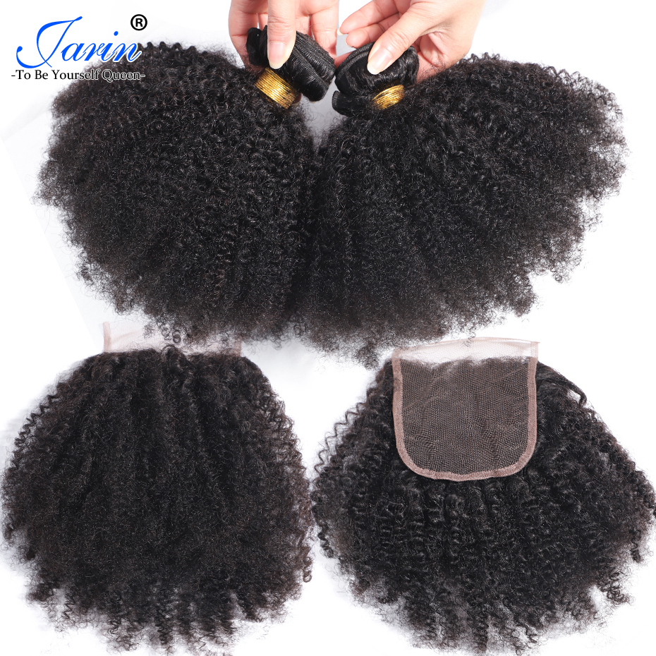 Mongolian Afro Kinky Curly Hair Weave 3 Bundles Deal With Closure Natural Color 8 20 inches