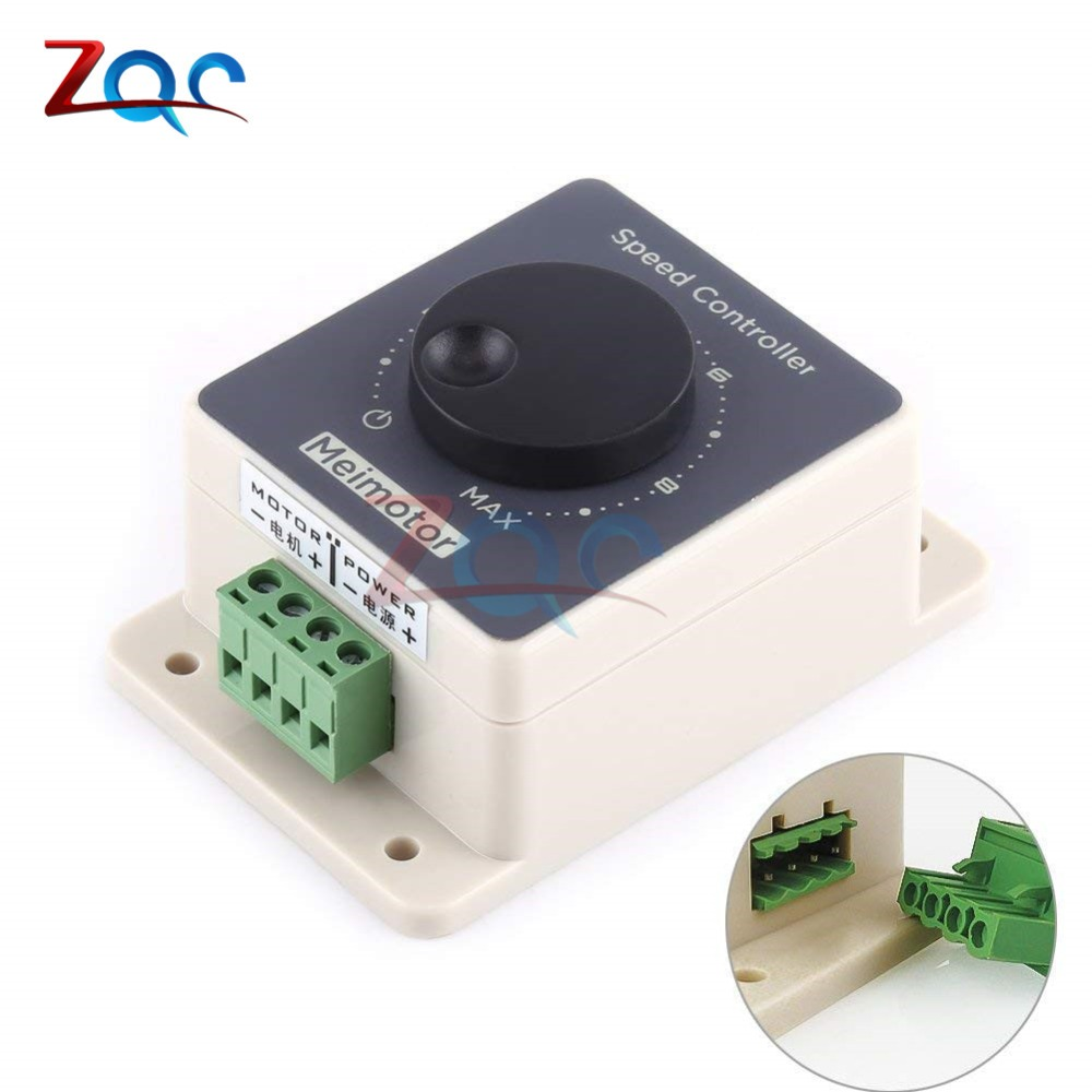 DC 12V 24V 36V 48V DC Motor Speed Controller Regulator 10-60V 20A Pulse Width Modulator PWM Speed Controller Waterproof Case