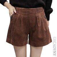 Autumn Winter Corduroy Elegant Women Shorts Thick Harem Shorts Women Green Black Coffee Casual Women High